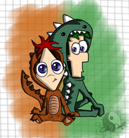 Phinesaur and Ferbzilla by CallMeDani