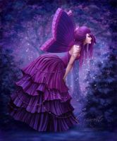Pretty Purple Peaceful Butterfly by Enamorte