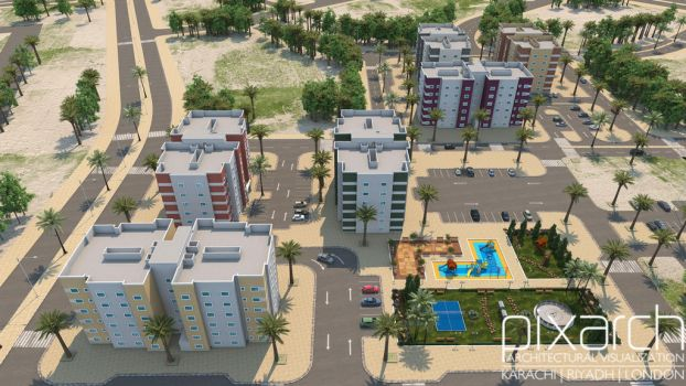 Ministry of Housing Residential Apartments 3D View by pixarch