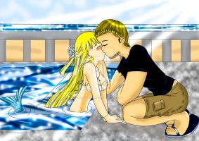 Kissing my mermaid student by EllenMarieCurie