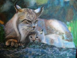 Lynx mother and baby by Lynx38