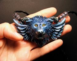 Guardian wolf pendant SAPPHIRE by Meadowknight