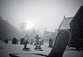 Frozen cemetary by grbush