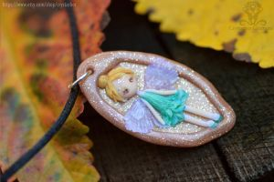 Tinker Bell disney fairy polymer clay necklace by Crystarbor