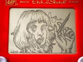 Contemplative etchasketch me by pikajane