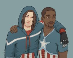 Bucky and Sam - coloured by luckyraeve