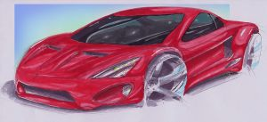 Car Sketch 28 (Copic) by WoofyDesigns