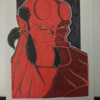 Hellboy colored and finished. by drtidigler