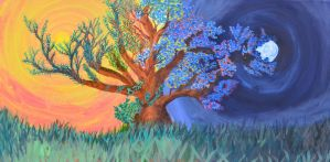 Day and Night tree by faafexloom