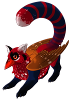 Red Panda x Red Avadavat Gryphon by Kingfisher-Gryphon