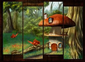 The Mushroom House(Digital Painting) by chamirra