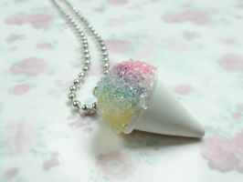 Rainbow miniature snow cone necklace by kawaiibuddies