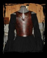 leather armor corset back view by Lagueuse