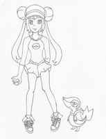 Lineart - Mei/Rosa and her Snivy by BananaSundae456