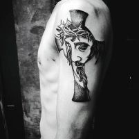 Jesus Cross Tattoo by hassified