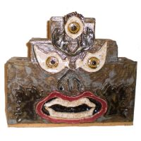 Candle Holder with Demon Face by aberrantceramics