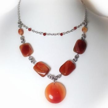Red Agate and Stainless Steel Chainmaille Necklace by sanikicreations