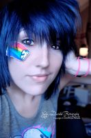 Blue hair and rainbow stickers by Lover0fNightmares
