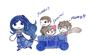 The Chibi TARDIS and her boys going on adventures by TheCherryGoldfish