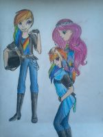 Rainbow biker and Fluttershy-Hippie by Laima-Ilina