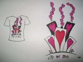 T-shirt design: CITY OF LOVE by NougatChocoLateBar