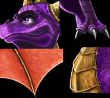 Details of my Drawing Spyro by Tsitra360