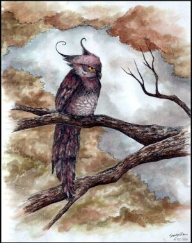 Autumn Owl . Watercolor. by SilentReaper
