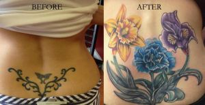 Floral coverup before and after by Mikeashworthtattoos
