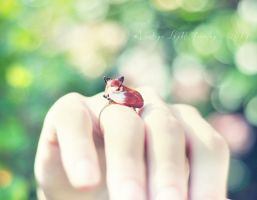 Sleeping Fox Ring by VintageLightJewelry