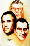 Michael Ripper, Christopher Lee, and Peter Cushing by woodywelch