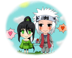 Chibi-Jiraiya and Mei by BloodyRiley
