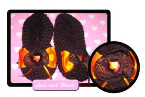 Lace and heart slippers by Erikor