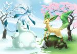 Glaceon and Leafeon by Trinamon