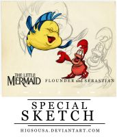 Special Sketch - FLOUNDER and SEBASTIAN by HigSousa