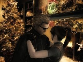 Merry X-mas- Wesker and Claire by IamRinoaHeartilly