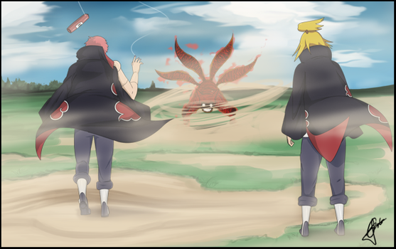 4-tailed naruto vs Akatsuki by SirOpacho