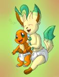 Charmander and Leafeon by davidcool1989