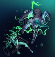 Wavegirl and Cyclone - commission from AnubisGod by ZedEdge