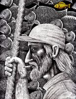 Old Fisherman pen ink drawing by Vitogoni