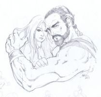 Khal Drogo and Daenerys Targaryen by aminamat
