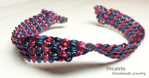 Funky Woven Wire Bangle by pecatrix
