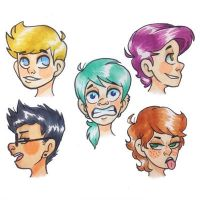 Copics experimenting with characters by loulouloulou5