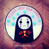 No Face Please Wash Your Hands hoop by iggystarpup