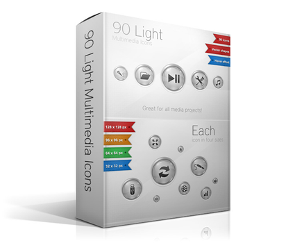 90 Light Multimedia Icons by watracz