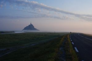 Cloudy Mont St Michel by LLukeBE