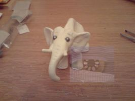 Fimo white Elephant by Loucathwil