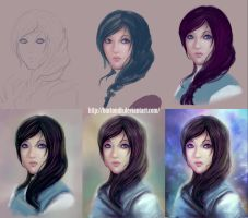 Portrait Banshee-me step by step by BartonDH
