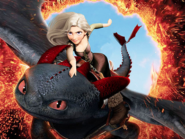 girl on toothless!!! by Toothless521