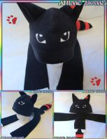 Custom Black Red Wolf Plushie Noms Hat by AnimeNomNoms