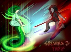 Selvina and Theif Sparring by Aywren